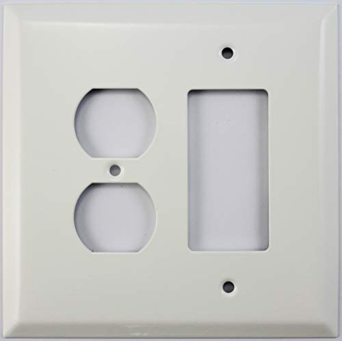 Combo 2 Gang Wall Plates - Over Sized Jumbo Smooth White 2 Gang Combo Wall Plate - 1 Duplex Outlet 1 GFCI/Rocker Opening