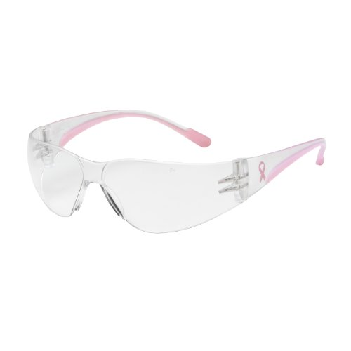 Eva Petite 250-11-0920 Rimless Safety Glasses with Clear/Pink Temple, Clear Lens and Anti-Scratch/Anti-Fog - Safety Glasses Hot Pink