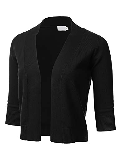 Women's Classic 3/4 Sleeve Open Front Cropped Cardigan Black 2XL ()