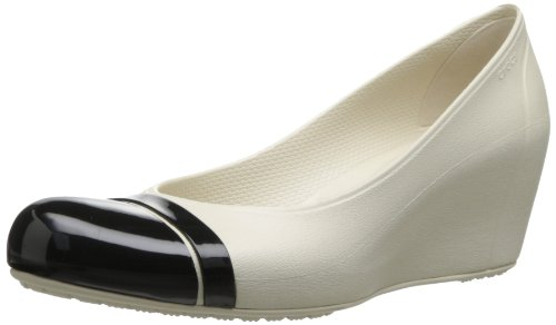 Crocs Cap Toe Wedge - Zuecos de material sintético mujer Beige (Stucco/Black)