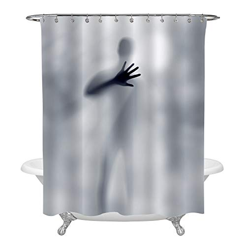 MitoVilla Blur Male Silhouette Asking for Help with Hand Horror Halloween Shower Curtain Set with Hooks, Mysterious Scary Art Print Bathroom Accessories, 72 x 84 inches, Grey