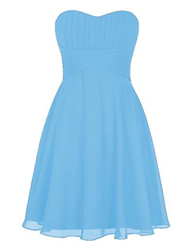 Abiti Convenzionali Huini Festa Di Tesoro Dresses Blu Satin Corto Prom Nozze Cielo 4nzr48q