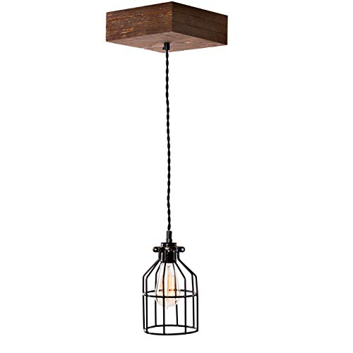Pendant Farmhouse Lighting Triple Wood Beam Vintage Decor Chandelier Light - Great in Kitchen, Bar, Industrial, Island, Dining Room, Foyer and Edison Bulb - Reclaimed Wooden Rustic Light