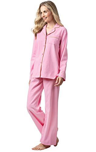 Addison Meadow Women's Flannel Pajamas - Cotton Boyfriend Style, Pink, S, 4-6