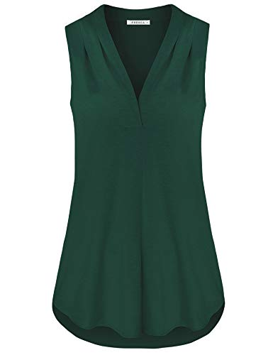 Fresca Summer Clothes for Women, Elegant Work Blouse Ladies V Neck Loose Professional Tunic Blouses Career Tops Green Medium
