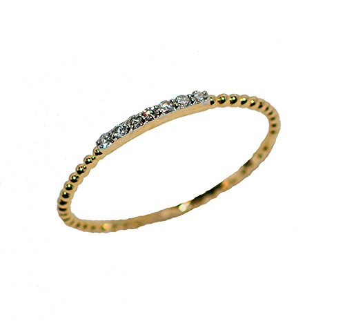 LooptyHoops 14K Yellow Gold .06 ctw Diamond Stackable Rope Band Ring Size 6.5