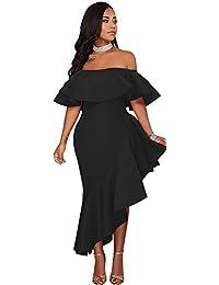 6c5154d6419 Women s Maxi Dresses Ruffle Plain Off Shoulder Floral Print Sexy Cocktail  Bodycon Dresses S-5XL