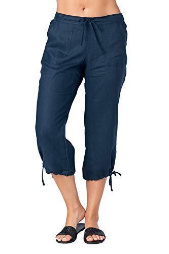 (Mariyaab Women's Wide Leg Casual 100% Linen Capri Pants with Drawstring and Leg tie (1411, InkBlue, 10))