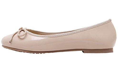 Chaussures à Femme dqq Rond plates Bout avec nœud enfiler Nude XWWOS