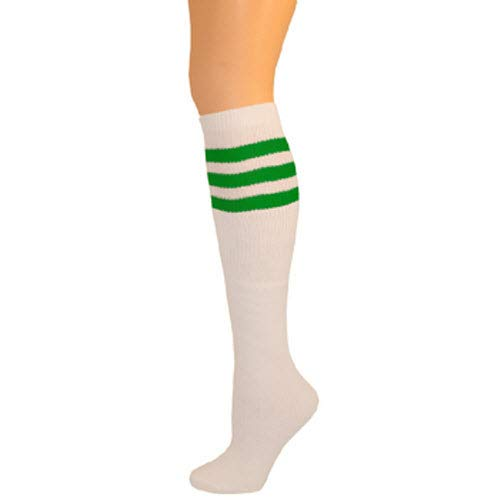 AJs Classic Triple Stripes Retro Knee High Tube Socks - White, Kelly Green, Sock size 11-13, Shoe Size 5 and up -
