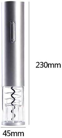 Huixindd Vino eléctrico automático sacacorchos de Corcho eléctrico Kit de sacacorchos corchetones inalámbricos Sacacorchos con Herramienta de Cocina de sacacorchos (Color : Silver)