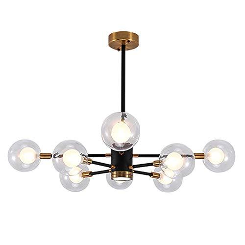 VinDeng Sputnik Globes Glass Chandelier, G9 LED 24W Modern Ceiling Light with Vintage Black Gold Metal Iron Light Fixture for Bedroom Living room-8-Lights