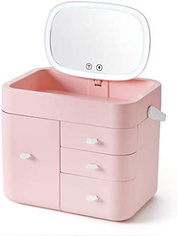 化粧品収納ボックス 大容量引出しタイプ覆われた化粧品収納ボックスLEDミラー付き口紅スキンケア収納ボックスアクリル素材ホワイトピンク JAHUAJ (Color : C)