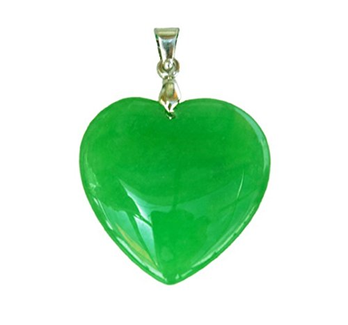 Dark Green Jade (Antiquity Sian Art Heart Shaped Natural Jade Pendant - PD003 (Dark)