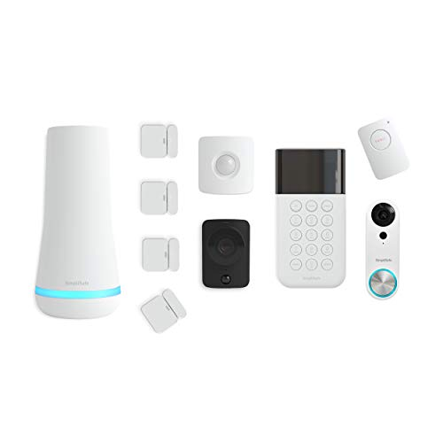 SimpliSafe SS3-AMZ-5 10 Piece Wireless Home Security System w/HD Camera and Video Doorbell-Optional 24/7 Professional Monitoring-No Contract-Compatible with Alexa and Google Assistant, pc, White