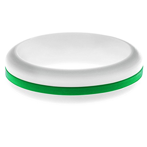 FLEX Ring - Womens Mens White Silicone Ring - Changeable Color Bands - Many Colors - Safe, Durable, Everyday Wear Wedding Band - 1 Ring - Sizes 4-16