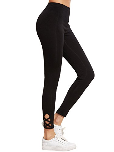 SweatyRocks Women's Cutout Leggings Skinny Yoga Pants Runing Jogger Active Tight (Medium, Black#6)