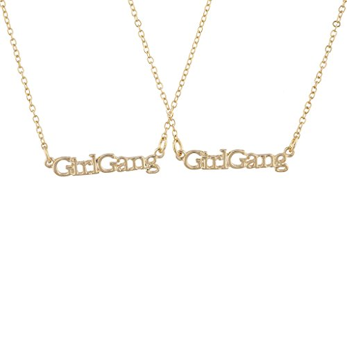 (Lux Accessories Gold Tone Girl Gang Best Friends BFF Nameplate Necklace Set 2PC)