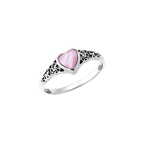 Boma Sterling Silver Pink Shell Heart Ring, Size 6