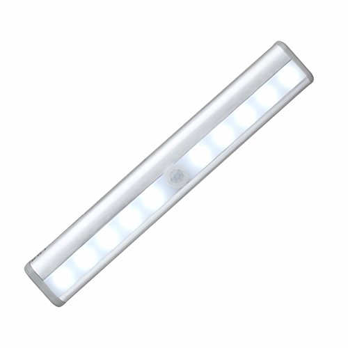 Motion Sensor Wardrobe Closet lights, Battery Operated Wireless Under Cabinet Lighting, 10 LEDs Super Bright LED Night Light, Magnetic Stick-on Anywhere, 6000K White Light[1 Pack] by Cefrank