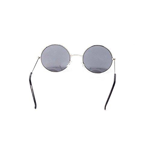 Femmes Style Unisexe Rétro Classique Ronde Lennon Adultes de Lunettes Vintage Qualité UV400 Hommes John Soleil Elton Argent Ultra Y6SZRwqxY