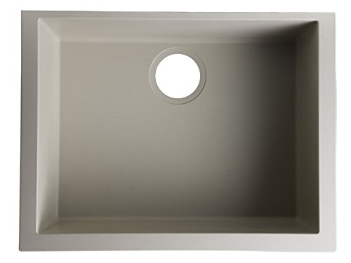 ALFI brand AB2420UM-B Undercount Single Bowl Granite Composite Kitchen Sink, 24