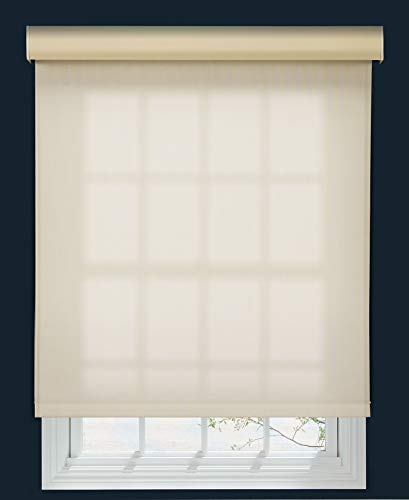 Decor Avenue Custom Cordless 5% Solar Screen Roller Shade Seashell 60 W x 54 to 66 H Outside Mount