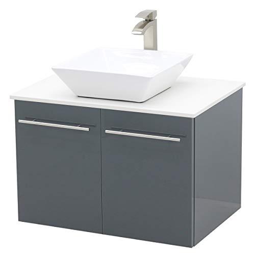 WindBay Wall Mount Floating Bathroom Vanity Sink Set. High Gloss Dark Grey Vanity, White Flat Stone Countertop Ceramic Sink - 30