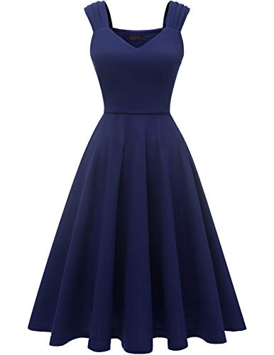 DRESSTELLS Women's Bridesmaid Vintage Tea Dress V-Neck Prom Party Swing Cocktail Dress Navy M