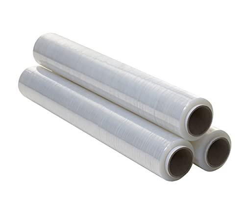 OFITURIA Film Transparente para Embalar de 50 cm x 200 Metros de Longitud – Rollo de Film Elástico Manual para Embalaje Industrial – 3 unidades