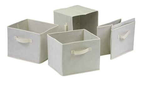 Winsome Wood Capri Set of 4 Foldable Fabric Baskets, Beige 82411