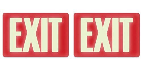 (Headline Sign 4792 Glow-in-the-Dark Exit Sign, 8 Inches by 12 Inches, 2 Packs)