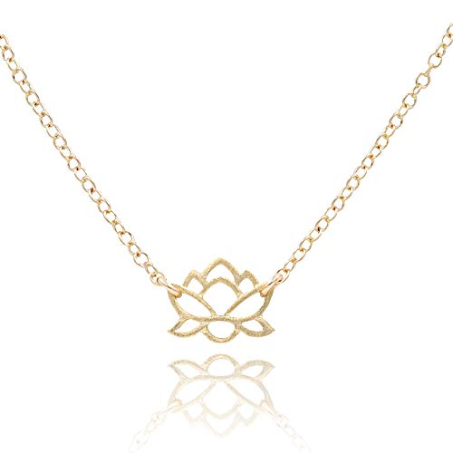MaeMae Vermeil Gold Lotus Pendant Necklace, Rebirth Lotus Necklace, 14k Gold Filled Dainty Cable Chain, 16