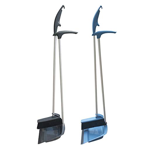 Coralpearl Upright Standing Dustpan and Brush Set Dust Pan Broom Combo Sweep Cleaning Tool Organizer with Long handle Rubber Lip for Lobby Kitchen Garden Garage Outdoors Indoor 36