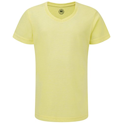 russell-girls-v-neck-short-sleeved-t-sh-yellow-marl-7-8-years-28-30-inches
