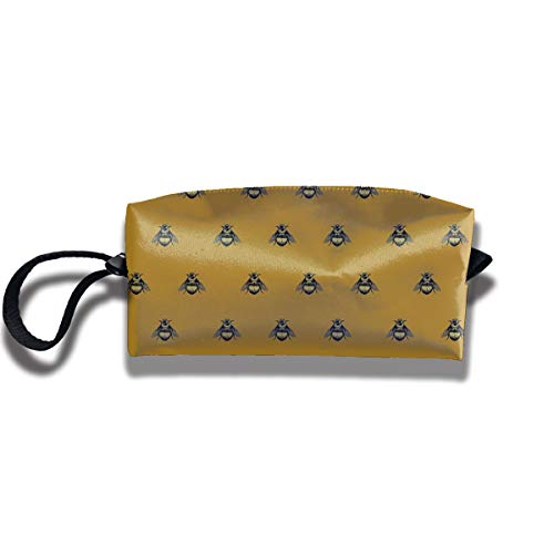 Cosmetic Bags With Zipper Makeup Bag Bumblebee Pattern Middle Wallet Hangbag Wristlet Holder ()