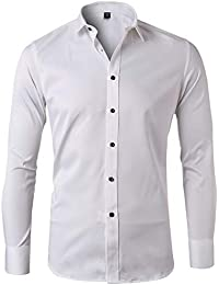 4118ea0ec6f Mens Dress Shirts Bamboo Fiber Slim Fit Long Sleeve Casual Button Down  Shirts Wrinkle Free Dress