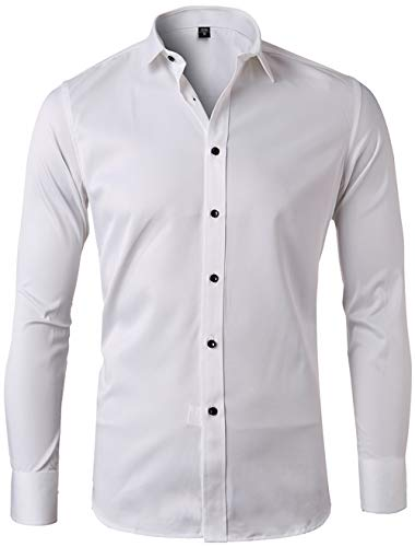 (Men's Bamboo Fiber Dress Shirts Slim Fit Solid Long Sleeve Casual Button Down Shirts, Elastic Formal Shirts for Men,White Shirts, 15.5