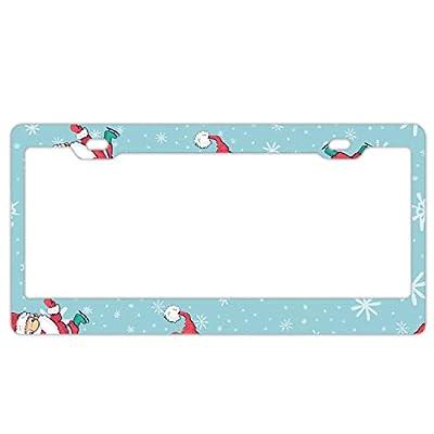 KSLIDS Santa Claus Cute License Plate Frames, Alumina Car Licence Plate Covers Slim Design for US Vehicles