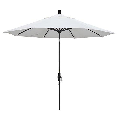 California Umbrella 9' Round Aluminum Market Umbrella, Crank Lift, Collar Tilt, Black Pole, White Olefin