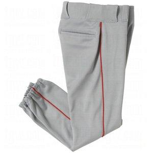 YOUTH Side Seam Piping Baseball/Softball Pants (White, Grey Pants. Black, Navy, Royal, Red Piping) (Grey/Red Piping, Youth Small (22-24))