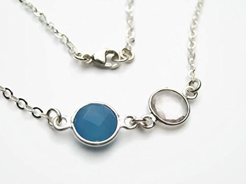 "18"" Blue Chalcedony & Quartz Necklace, 925 Sterling Floating Necklace, Faceted Gemstone Pendant, Floating Pendant"