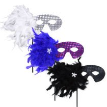 Mardi Grad Mask (Hand-Held Sequined Mardi Gras Masks with Feathers)