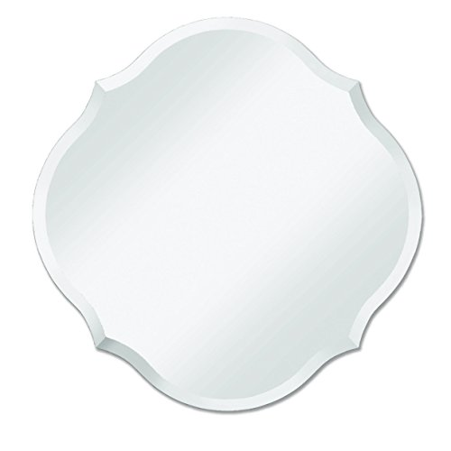 Frameless Mirror | Bathroom, Bedroom, Accent Mirror | Round with Scalloped Edges (Mirror Round Silver)