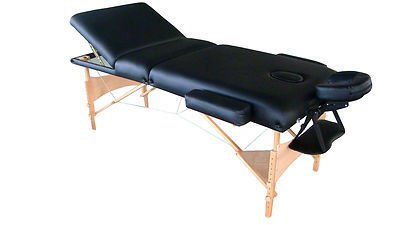 """ExacMe Luxury 77"""" Long Three Section 4"""" Pu Portable Massage Table/bed with Carry Case Black/Blue/Rose/Purple (Black)"""