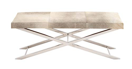 - Deco 79 59668 Modern Cross-Legged Upholstered Bench, 16