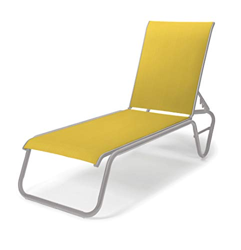 Telescope Casual 808543D01 Furniture Gardenella Sling Collection Four-Position Lay-Flat Stacking Aluminum Armless Chaise, Yellow, Gloss White - Chaise Gloss