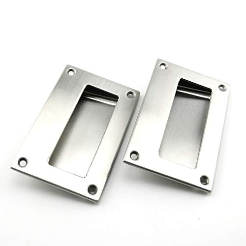 - Heyous 2pcs 5x3.2 inch Hidden Recessed Pull Handle Stainless Steel Square Flush Concealed Furniture Handle for Door Drawer Cupboard Cabinet Sliding Door
