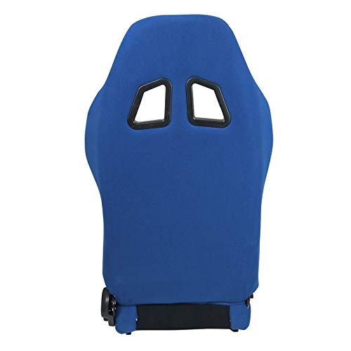 [L+R] Black/Light Blue Fabric Cloth Reclinable Sport Racing Seats w/Sliders by Spec-D Tuning (Image #3)