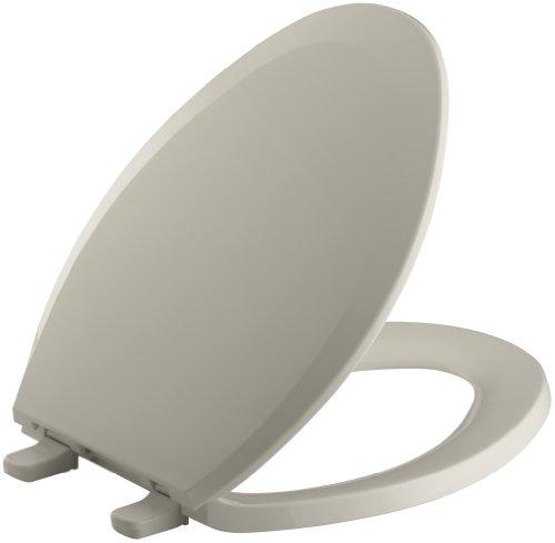 (KOHLER K-4652-G9 Lustra Elongated Closed-Front Toilet Seat, Sandbar)